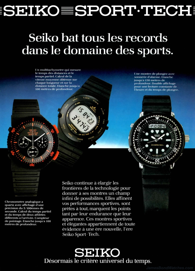 French Seiko Sports Tech print ad featuring H558 Diver's 150m wa