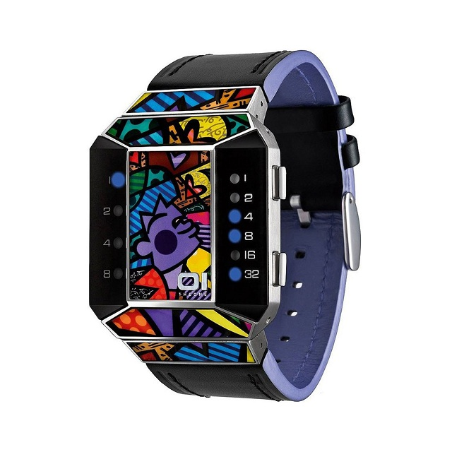 01TheOne-Unisex-Split-Screen-Romero-Britto-Art-Purple-Watch
